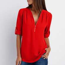 V-neck zipper large size womens long-sleeved sleeved loose chiffon shirt/Sexy v-neck elegant shirt for women/16 color