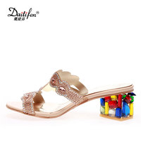 New Brand Daitifen Stylish Crystal High Heels Women Summer Shoes Luxury Rhinestone Open Toe Breathable Lady