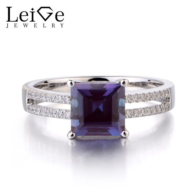f94f062cb5 US $159.0  Leige Jewelry Lab Alexandrite Solid 925 Sterling Silver Ring  Color Changing Gemstone June Birthstone Princess Cut Promise Rings-in Rings  ...