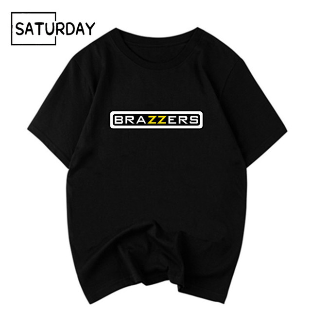 Men's Funny Brazzers Black Cottonn Printing T-shirt Unisex Summer Casual Harajuku T Shirt Women Graphic Tees Boyfriend Gift