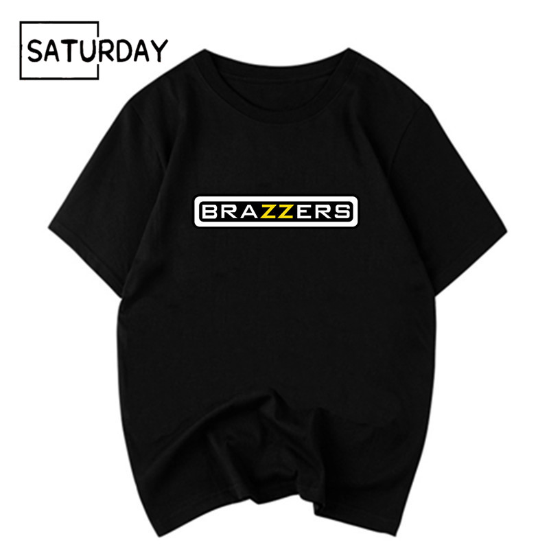 Men's Funny Brazzers Black Cottonn Printing   T  -  shirt   Unisex Summer Casual Harajuku   T     Shirt   Women Graphic Tees Boyfriend Gift