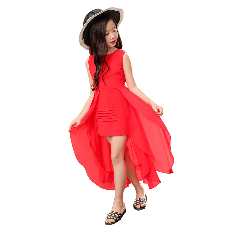 summer irregular long dress for 4 - 12 yrs teenage girl chiffon elegant party gown korean new little girls red pink dresses 2019