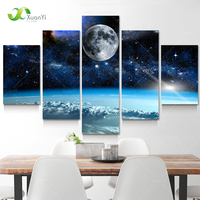 5 Panel Wall Art Modern Abstract Paintings Space Universe Landscape Oil Paintings Canvas Picture Print On