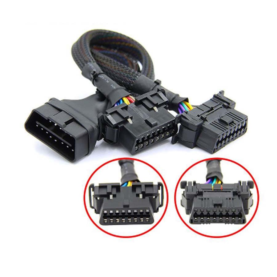 New OBD2 Male To Dual Female Elbow Extension Cable With 16pins Available To Connected 1 IN 2 Converted OBD 2 Extender Adapter