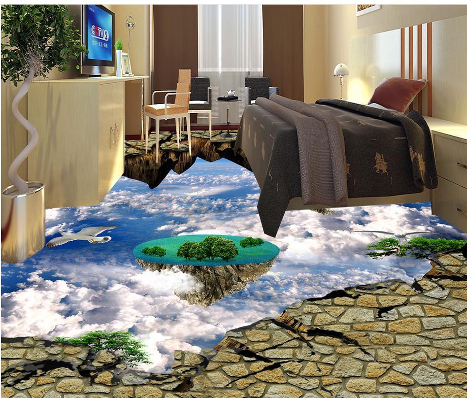 Cielo azul 3d wallpaper piso para sala de estar for Wallpaper sala de estar