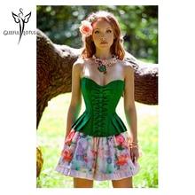 Гейн amincissante Для женщин Intimates модные Стиль корсет-overbust Сексуальное белье Зеленый C001