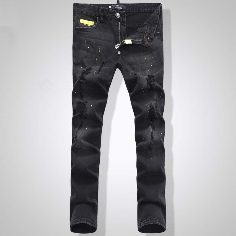 New Arrival Top quality Men Embroidery Skull Short Jeans Man Skinny Slim Denim Trousers Fashion Casual long jeans PP1505