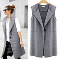 Spring New Fashion Women Female Turn-down Collar Single Button Long Vest Plus Big Size TC0004