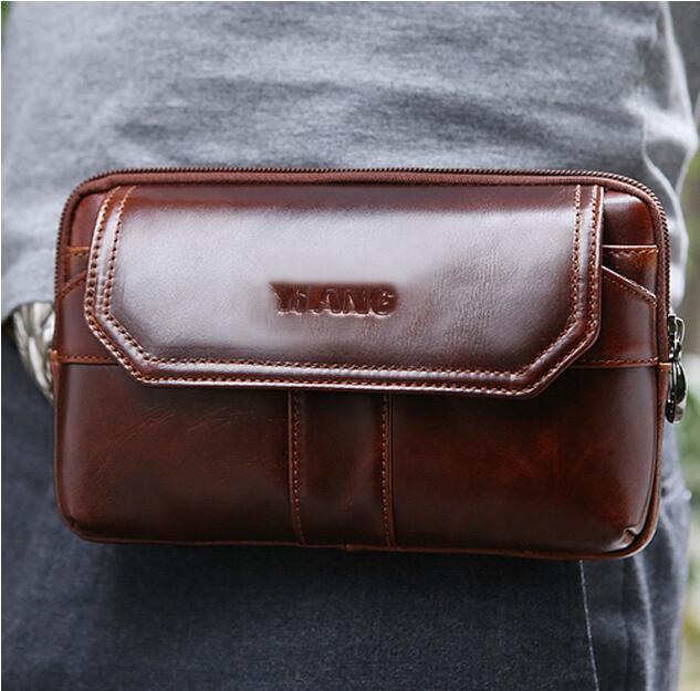 Waist Pack Men Bag Belt Bag Genuine Leather Phones Bags Blackview BV9600  Plus BV5500 Max 1 BV9600Pro BV6800 BV9500 BV5800 BV9000
