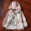 2017 spring autumn colorful polka dot girls winter coat kid baby clothing hooded girls coats and jackets casual kids jacket