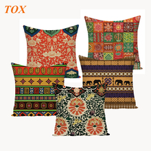 TOX African National Stripe Bohemian Style Geometric Home Cushion Cove Decorative Throw Pillow Covers Linen Ethnic Case