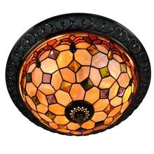 Retro Tiffany Shell Flush Mount Light E26/E27 Vintage Europea Lámparas de Techo Para la Cocina Bar Comedor accesorio de Iluminación CL220