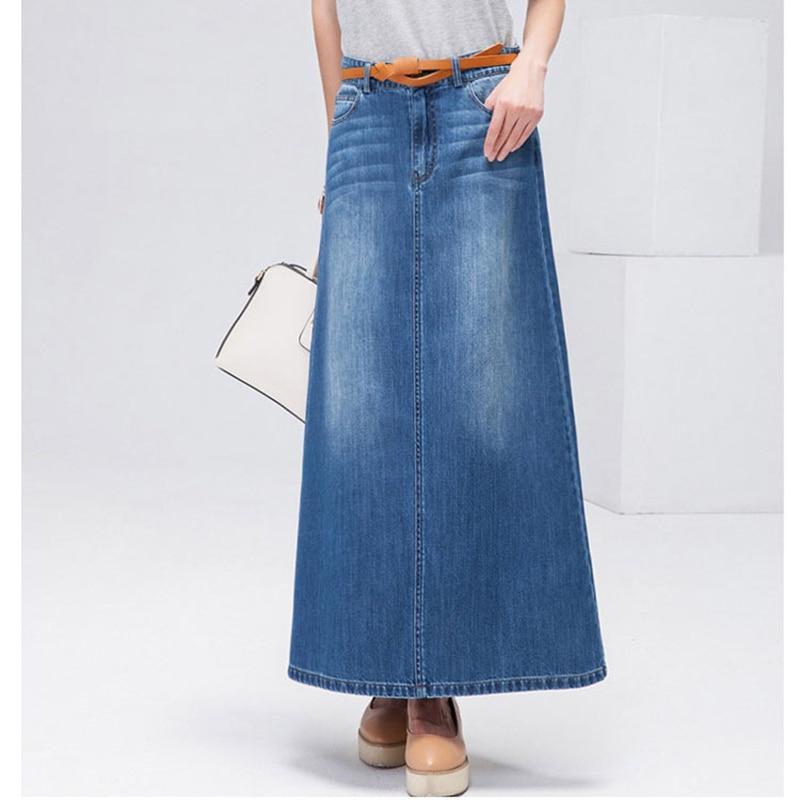 Korea Style Long Casual Denim Skirt Summer Autumn Women A-line Plus Size Long Maxi Skirts Woman High Waist Jeans Skirts No Belt
