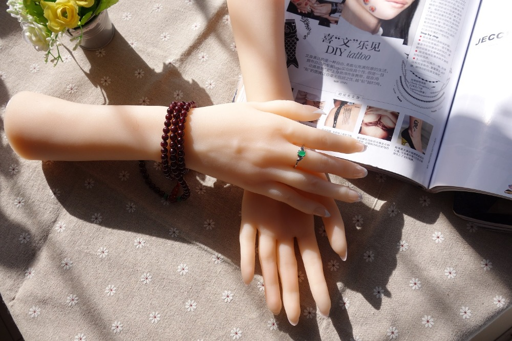 One Pair Realistic Silicone Female Active Mannequin Dummy Hands For Ring Jewelry Display Long Arm Model