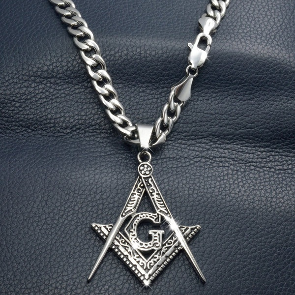 Silver tone Mens Stainless steel Freemasonry Masonic Mason Pendant chain necklace