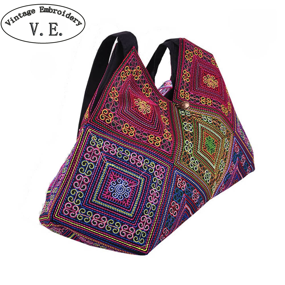 Vintage Embroidery Women Handbag Ethnic Embroidered Shoulder Bag Lady Vietnam Cross Stitch Canvas Totes Travel Beach BagsVintage Embroidery Women Handbag Ethnic Embroidered Shoulder Bag Lady Vietnam Cross Stitch Canvas Totes Travel Beach Bags