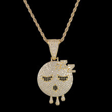 Men Hip hop Iced out elf sleepy emoji pendant necklaces AAA Zircon High quality male pendants necklace Hiphop jewelry gifts(China)