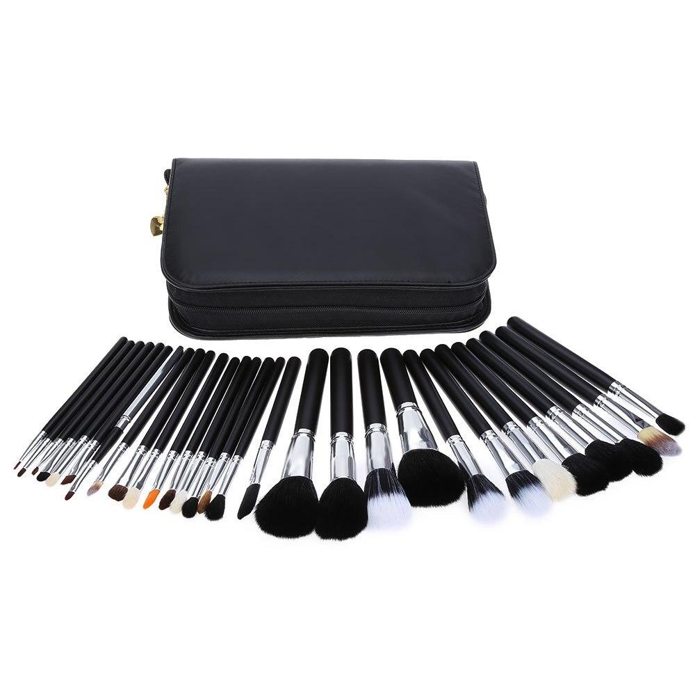 ФОТО 29pcs Professional Brush Eyebrow Women Cosmetic Tool Makeup Brush Set With Black Leather Case Foundation Eye Shadow Kit