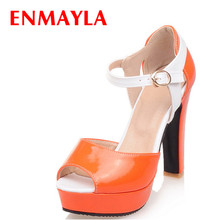 Airfour New High Heels Fashion Peep Toe Buckle Strap Shoes Woman Size 34-43 Orange Summer Sandals Platform Pumps