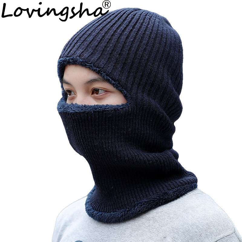 LOVINGSHA Warm Fleece Cap Balaclava Men Knitted Hat Neck Warmer Mask Winter Hats For Women Scarf Cap   Skullies     Beanies   HT089
