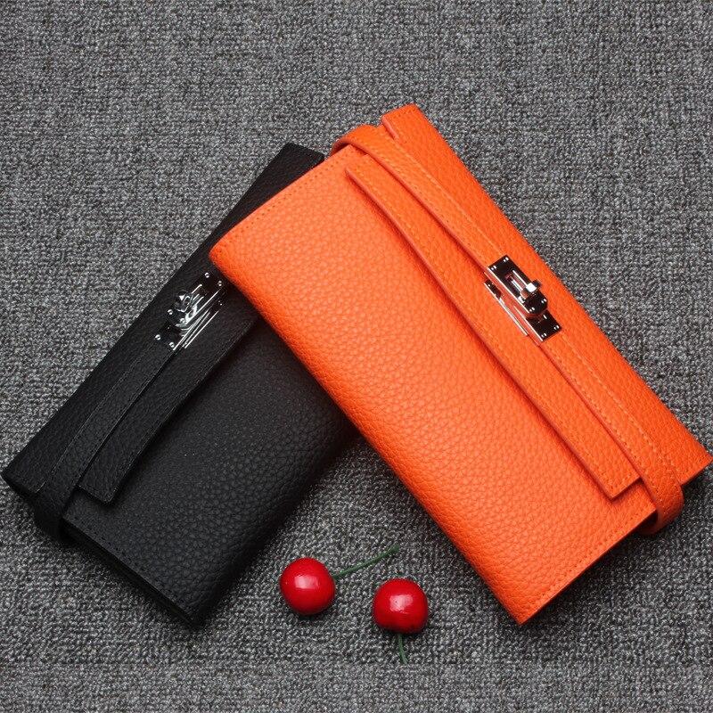 Niveau Long Portefeuille En Black orange Multi Capacité Peau Sac Manteau Grande Couche Véritable Nouvelle Vache carte Embrayage De Première Cuir Femmes xZHY77