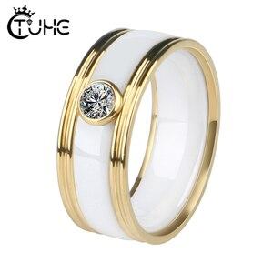 Nowy 8mm szerokość ceramiczne pierścienie mężczyzn z dużym karatowym kryształem złoty srebrny ze stali nierdzewnej mężczyźni kobiety pierścienie Wedding Party markowy pierścionek