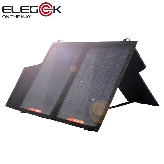 Elegeek 14 w dobrável carregador de painel solar saída usb duplo portátil dobrável painel solar com suporte ajustável para iphone samsung