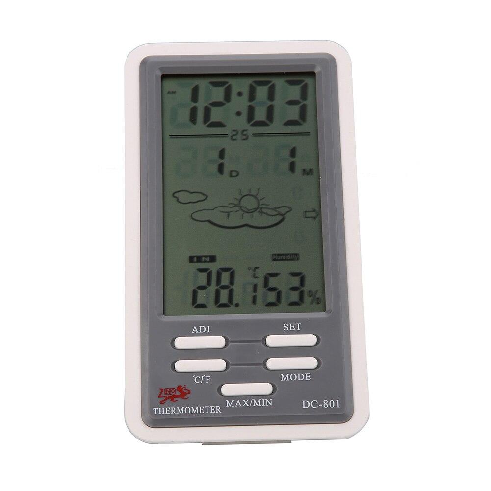 Numérique lcd auto alarme thermomètre hygromètre accueil station météo électronique intérieurextérieur température humidité testeur