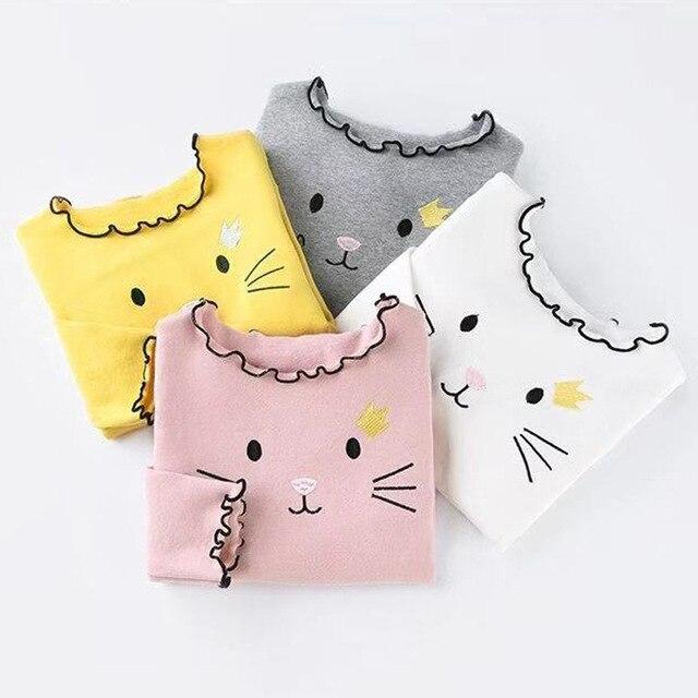 PPXX 2019 Girl Sweater Cardigan Kids Sweatershirts Children Clothing Winter Autumn Sweater Tshirt Long Cartoon Cat