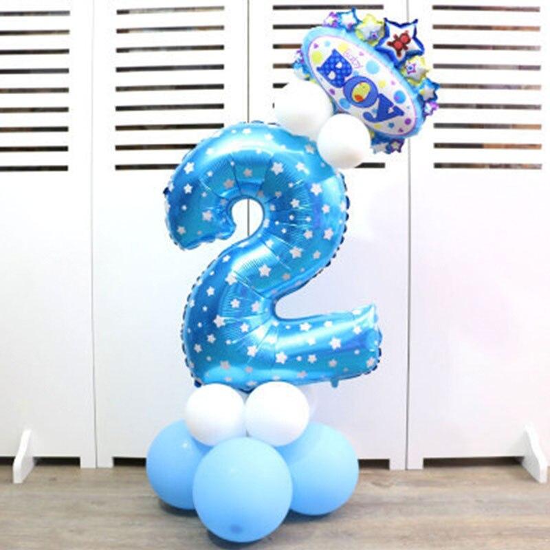 32-дюймовый Цифровой шар детское платье для дня рождения с рисунком надувной детский День рождения украшения вечерние шляпа воздушный шар для колонны игрушка - Цвет: Blue number 2
