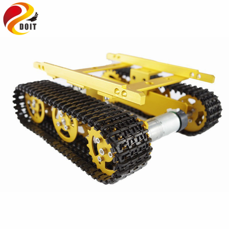 DOIT T100 Aluminum Alloy Tank Track Caterpillar Car Chassis Tracked Crawler Track Mounted DIY RC Toy