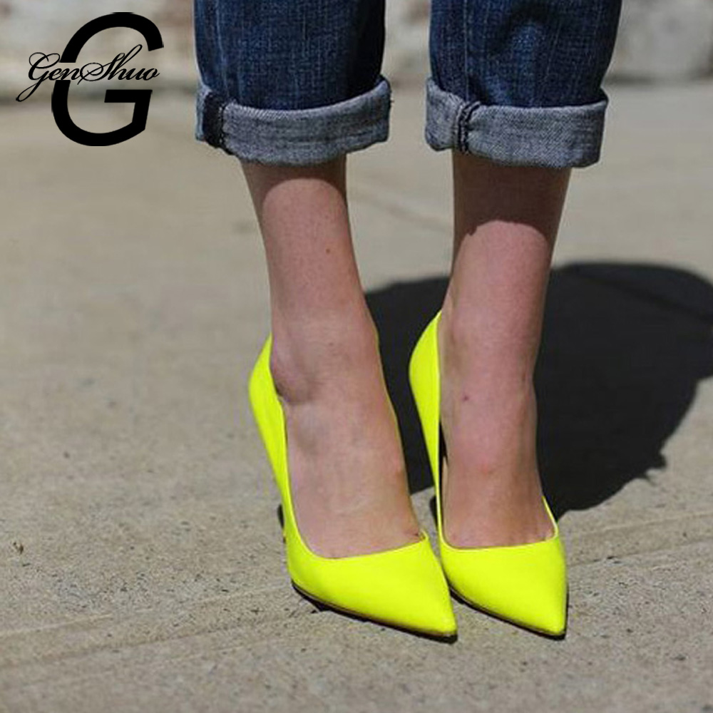 GENSHUO 12CM Heels Shoes Pumps Stiletto Neon Yellow Sexy Big-Size 10 Party 10-11-12