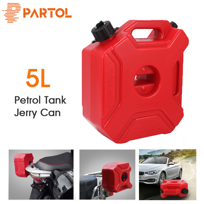 Partol 5L Fuel Tanks Plastic Petrol Cans Car Jerry Can Mount Motorcycle Jerrycan Gas Can Gasoline Oil Container fuel Canister car window curtains legal