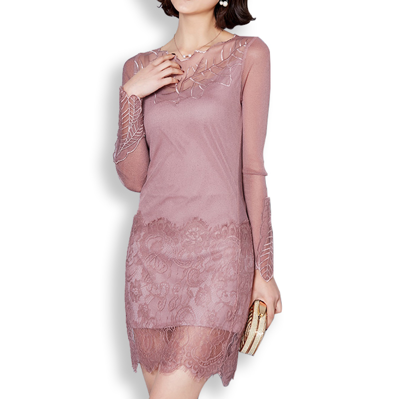 2016 Autumn Winter New Vintage Elegant Sexy Slim Embroidery Lace Long Sleeve Women Short Dress Office Evening Party short dresses office wear