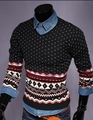 New Arrivals Men's autumn and winter long-sleeved cotton round neck diamond jacquard sweaters Slim Fit Pullovers