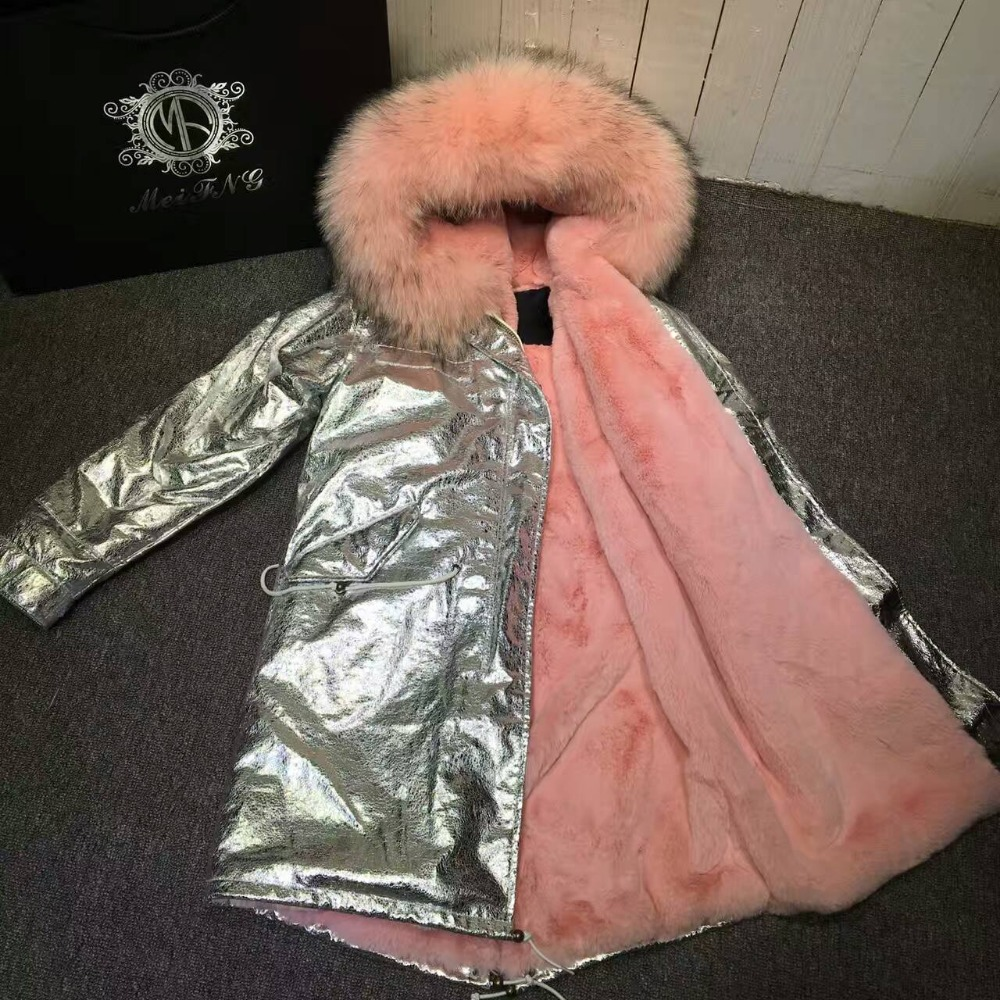 Parka longue en argent pour bébé Parka rose pour dames vêtements d'hiver, coque en cuir avec capuche en fourrure de raton laveur