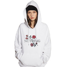 NOTHING Letter Printed Women's Hoodie New Women Long Sleeve Hoodie Sweatshirt Rose Floral Print Casual Hooded Coat Pullover Tops