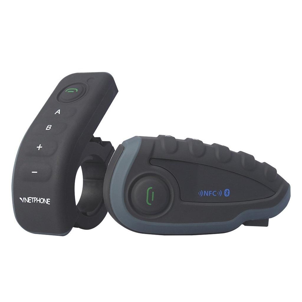 Vnetphone V8 Motorcycle Helmet Bluetooth Intercom Weatherproof Interphone Headset Remote Controller Handlebar with FM NFC 2 pcs v8 motorcycle helmet intercom wireless headset bt interphone with fm nfc remote controller for 5 rirder talk at same time
