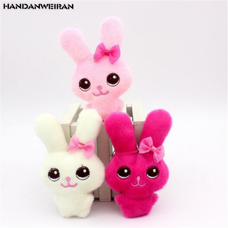 1PCS Cute Plush Bow Tie Rabbit Toys Small Pendant Doll Creative Mini Soft Stuffed Conjoined Beauty Toy Dolls For Kids Gifts 12CM