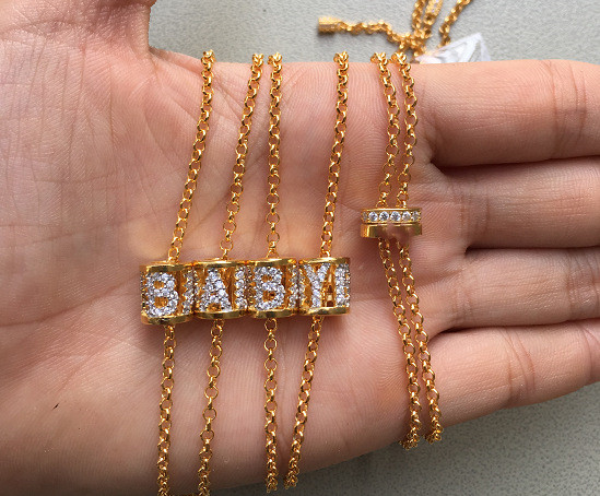 Top qualité 925 bijoux en argent sterling lettre innitial amour collier lettres bébé pendentif couleur or cz pierre choker monaco - 4