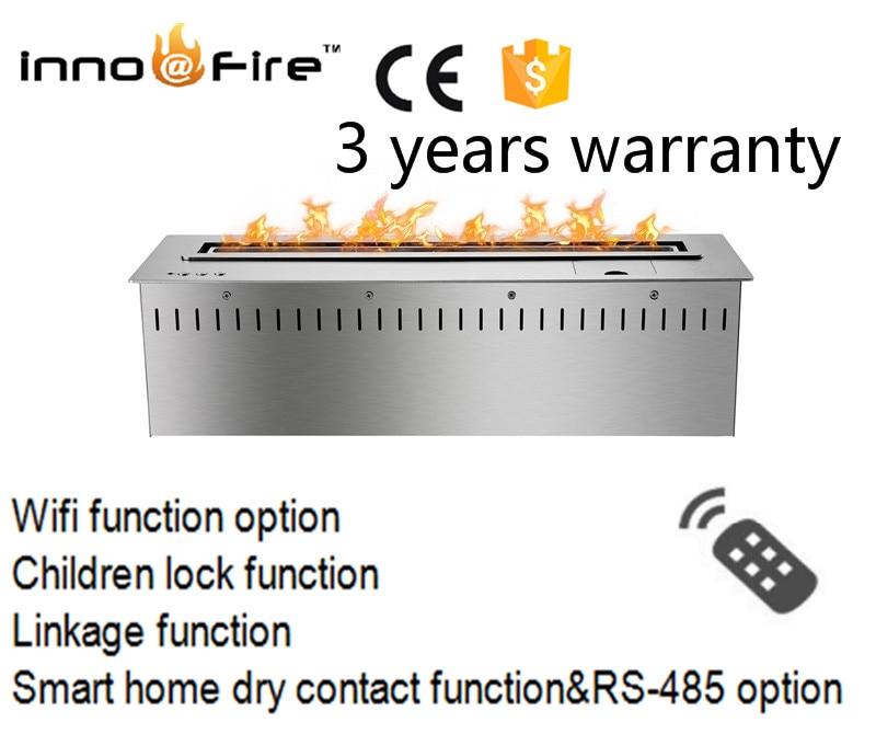24 Inch Silver  Or Black Remote Control Intelligent Bioethanol Fireplaces Decorative Emitting