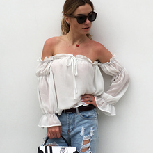 2019 New Slash Neck Reffles Chiffon Blouses Lace Up Beach Sexy Women Casual White Shirts Summer Tops Puff Sleeve Blusas Female