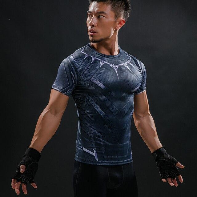 0a6367f2d6 Compressão Tee Camisetas Homens Pantera Negra Homens Da Guerra Civil de  Super-heróis Vingadores Da