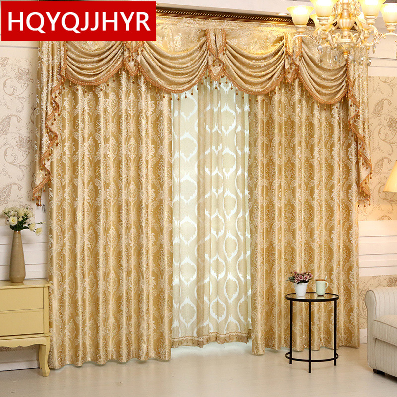 Buy 2016 new luxury spun gold jacquard for Living room ideas gold curtains