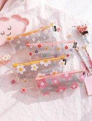1 pçs kawaii lápis caso flor transparente presente estuches escola caixa de lápis lápis lápis lápis lápis saco material escolar papelaria