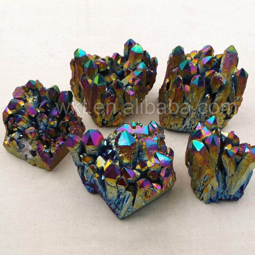 WT G075 hurtownie duże tytanu tęczy klaster kwarcowy piękne kryształowe klastra Decor kamień gatunek minerału uzdrowienie kwarcowy w Wisiorki od Biżuteria i akcesoria na  Grupa 1