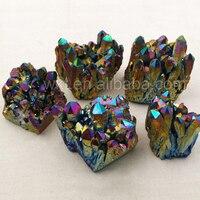 Wt-g075 bán buôn lớn titanium cầu vồng quartz cụm đẹp pha lê cụm trang trí nội thất đá mẫu vật khoáng vật healing thạch anh