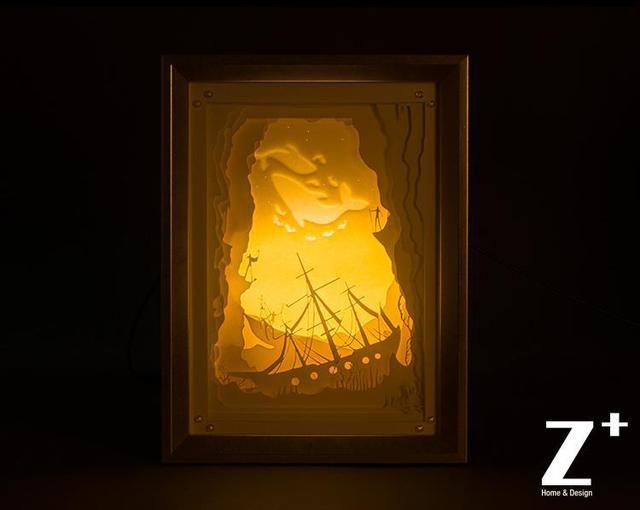 Hand Made Paper Art Night Lights Children Lamp Cut Gift Bo Led Fairy Tale Cartoon The Treasure Ship
