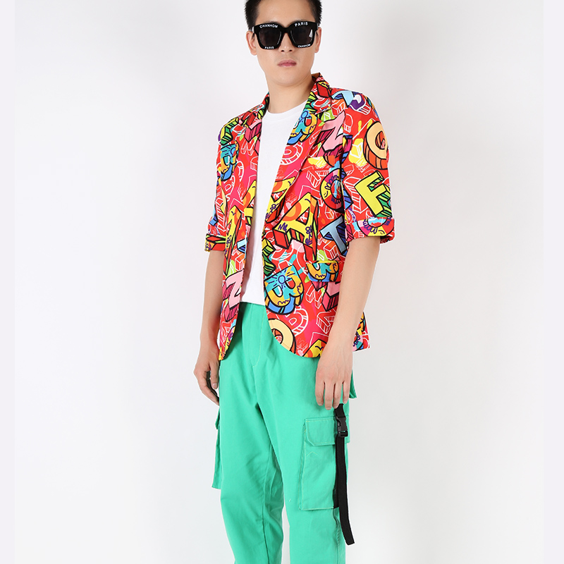 M-2XL!!Fashion Tide Red Stage Bar Hip Hop Full Version Letter Printing Single Button Sleeves Slim Suit.