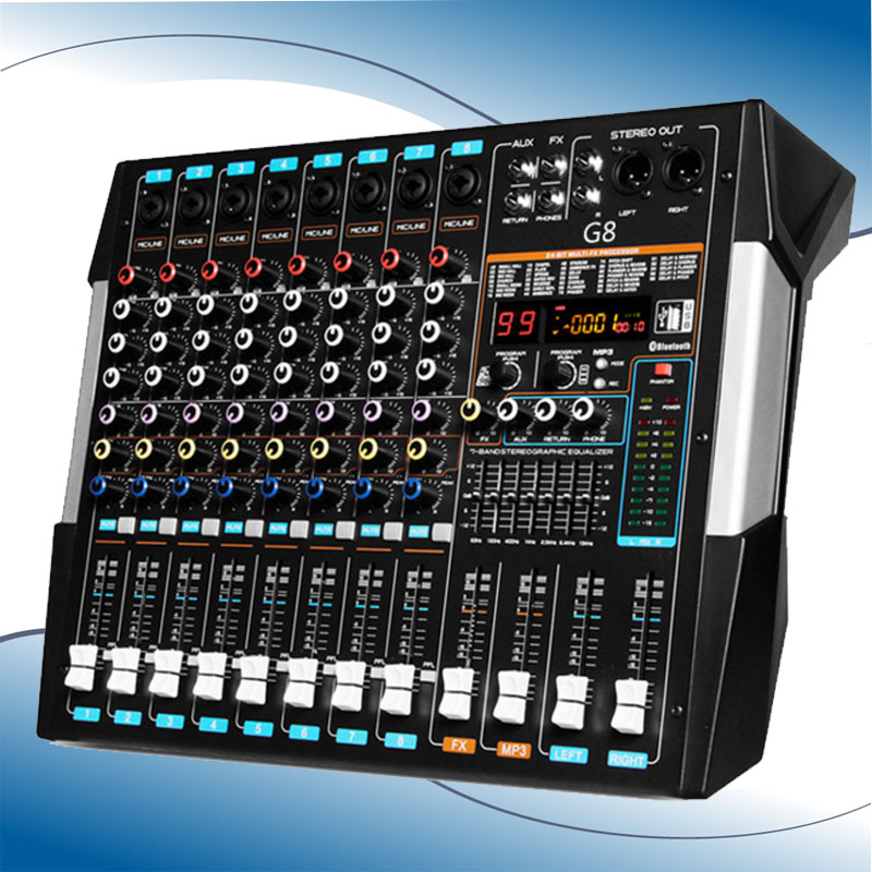 Professional 8 Channels with Bluetooth USB Dual screen Mixer Stage Wedding Outdoor Performance Reverb Effect Adjustment